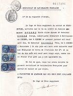 Extrait  Certificat De Nationalité, Plouzavédé, 3 Timbres Fiscaux De 80 Francs, 60 Francs Et10 Francs - Vieux Papiers