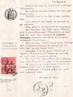 Extrait  Certificat De Nationalité, Fouesnant, 2 Timbres Fiscaux De 3 Francs - Non Classés