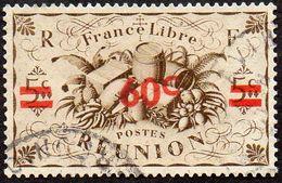 Réunion Obl. N° 253 - Détail De La Série De LONDRES Surchargé En 1945 - Productions - 60cts Sur 5 C Sépia - Réunion (1852-1975)