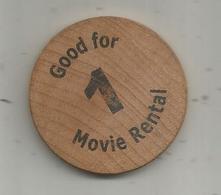 Jeton , Bois , United States Of America , Good For 1 Movie Rental , Broadway Video ,813 E. Republican , 2 Scans - Professionnels/De Société