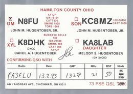 US.- QSL KAART. CARD. N8FU. JON M. HUGENTOBER, SR.. CINCINNATI, OHIO, HAMILTON COUNTY OHIO. U.S.A.. - Radio-amateur