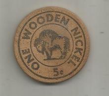 Jeton , Bois , One WOODEN NICKEL , United States Of America , 5 C , Mickie Finn's , SAN DIEGO , NBC-TV ,summer 1965 - Professionnels/De Société