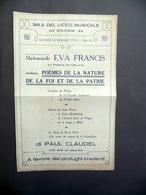 Foglio Volante Sala Liceo Musicale Bologna Eva Francis Claudel Irredenti 1915 - Non Classificati