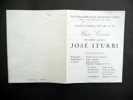Programma Teatro Giuseppe Verdi Trieste Josè Iturbi Pianista Unico Concerto 1953 - Non Classificati