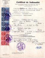 Extrait  Certificat De Nationalité, Arzano,  8 Timbres Fiscaux  5 De 100 Francs Et 3 De 5 Francs - Non Classés