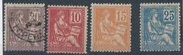 """CV-203: FRANCE: Lot """"Mouchon"""" N°112*(2ème Choix De Gomme)-113 Obl-117*-118* - 1900-02 Mouchon"""