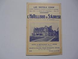 VIEUX PAPIERS - PUBLICITE: : Les HOTELS COOP - L'Hôtellerie De Ste Adresse - Advertising