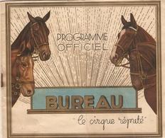Rare Programme 1938 Du Cirque Bureau, Les Colorados, Sulky De Mme Glasner, Charles Rigoulot, Acrobates Arnos, Cochon - Programmes