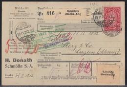 DR Paketkarte Mif Minr.2x 115,142,10x 153,158,175 Schmölln 19.11.21 - Deutschland