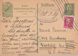DR Ganzsache Minr.PP186 Zfr. Minr.390 Hamburg 20.3.29 Gel. In USA - Deutschland