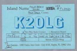 US.- QSL KAART. CARD. K20LG. JOE GUMINO, YESICA ANN CIRCLE, NAPLES, FLORIDA, PALM BEACH ISLES. U.S.A.. - Radio-amateur