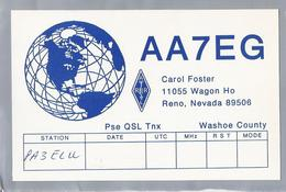 US.- QSL KAART. CARD. AA7EG. CAROL FOSTER, RENO, NEVADA, WASHOE COUNTY. U.S.A.. ARRL. - Radio-amateur