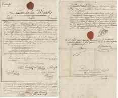 Légion De La Moselle Lunéville An 2 - 14.4.1794 Congé Mathias Haag Sundhoffen Signature Blanchard - Documents Historiques