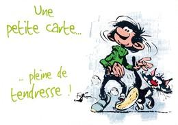 1735 Gaston Lagaffe Par Franquin (1999), Une Petite Carte … Pleine De Tendresse ! - Bandes Dessinées