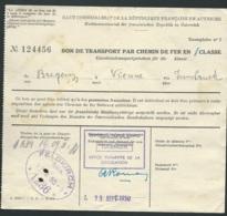 """Bon De Transport , FFO Française Allemagne , 1950 , Cachet """"combined Travel Board Tuebingen  Lire Suite    Lx 3603 - Documenti"""
