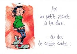 1747 Gaston Lagaffe Par Franquin (1999), J'ai Un Petit Secret à Te Dire … Au Dos De Cette Carte ! - Bandes Dessinées