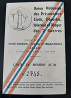 CARTE UNION NATIONALE PRISONNIERS CIVILS DEPORTES INTERNES ET OTAGES UNPDIC 14-18 GUERRE WW1 - Documents