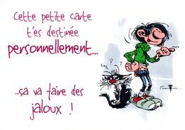 1758 Gaston Lagaffe Par Franquin (1999), Cette Petite Carte T'es Destinée … ça Va Faire Des Jaloux ! - Bandes Dessinées