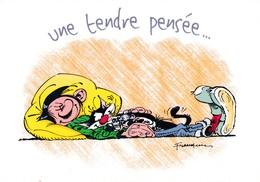 1767 Gaston Lagaffe Par Franquin (1999), Une Tendre Pensée … - Bandes Dessinées