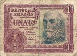 Lotto Di N. 2  Banconote  SPAGNA   / 1 Pesetas 1953 /  5 Pesetas 1951 - [ 3] 1936-1975 : Regime Di Franco