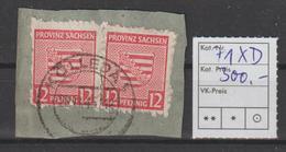 SBZ/Prov. Sachsen: 2x 12 Pfg. Postmeistertrenng. D Auf Briefstück, Gepr. - Zone Soviétique