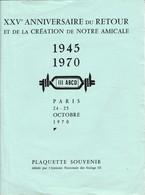 Documents Et Menu Amicale Nationale Des Anciens Des Stalags. 1970 - Documents