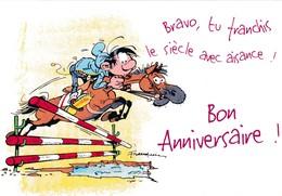 2735 Gaston Lagaffe Par Franquin (1999), Bravo Tu Franchis Le Siècle Avec Aisance ! Bon Anniversaire ! - Bandes Dessinées