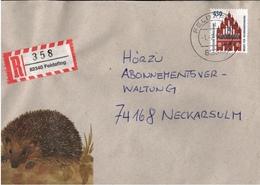 ! 1 Einschreiben Mit  R-Zettel  Aus 82340 Feldafing, Bayern, Igel - R- & V- Vignetten