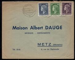 LUXEMBOURG - ESCH / 1953 AFFRANCHISSEMENT COMPOSE SUR LETTRE POUR LA FRANCE - METZ (ref 6041o) - Brieven En Documenten
