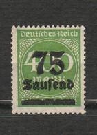 Allemagne - Deutsches Reich - Chiffre - Inflation - 75 Tausend - Année 1923 Mi 287 - Alemania