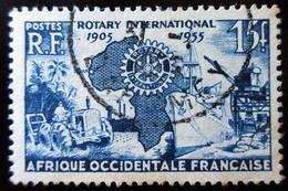 Afrique Occidentale AOF A.O.F. - Oblitéré - Charnière Y&T 1955 N° 53 Cinquantenaire Du Rotary International 15f Bleu - A.O.F. (1934-1959)