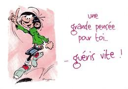 4734 Gaston Lagaffe Par Franquin (1999), Une Grande Pensée Pour Toi … Guéris Vite ! - Bandes Dessinées