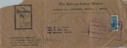 1937 , BOLIVIA , FRAGMENTO DE FAJA POSTAL PARA PUBLICACIONES , COCHABAMBA - LOS ÁNGELES , BISECTADO - Bolivia