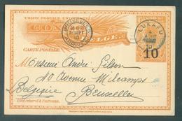 E.P. Carte Mols Surchargée 10 Obl. Sc LUKAFU 4 Août 1910 Vers Bruxelles-Superbe-. 14473 - Stamped Stationery