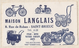 9/17  BUVARD SAINT BRIEUC MAISON LANGLAIS CYCLES MOTOS JOUETS - Trasporti