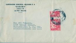 1939 BOLIVIA , SOBRE CIRCULADO , LA PAZ - PHILADELPHIA , UN VALOR BISECTADO , YV. 232 X 2 - FAUNA , CHINCHILLA - Bolivia