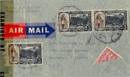 1943 BOLIVIA , SOBRE CIRCULADO , HUANUNI - EVANSTON , CORREO AÉREO , YV. 259 X 3 , GENERAL JOSÉ BALLIVIAN - Bolivia