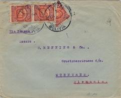 1921 BOLIVIA , SOBRE CIRCULADO VIA PANAMÁ  , ORURO - MÜNICH , TRÁNSITO DE BUENOS AIRES , UN VALOR BISECTADO - Bolivia