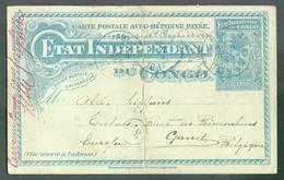 E.P. Carte 15 Centimes MOLS Obl. Sc MATADI 24 Juin 1897 Vers Gand.+ Man. Parvenue Boma Sans Formulaire Réponse - Enteros Postales