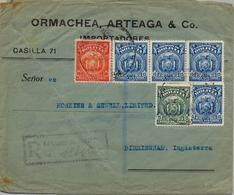 1926 BOLIVIA , SOBRE CERTIFICADO , LA PAZ - BIRMINGHAM , LLEGADA AL DORSO , MAGNÍFICO FRANQUEO - Bolivia