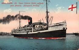 "4896 "" BARCELONA-VAPOR INFANTA ISABEL,SALIENDO PARA AMERICA-(COMPANIA PINILLAS) ""-CART. POST.OR.SPED. 1915 - Piroscafi"