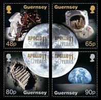 Guernsey 2019 Mih. 1737/40 Space. Apollo 11. Moon Landing MNH ** - Guernsey