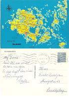 Aland  1977 Postcard Map Over Åland Islands , Cancelled Mariehamn  29.1.74 - Ålandinseln