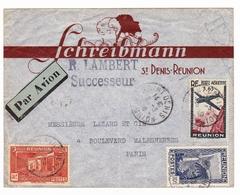 Saint Denis De La Réunion 1940 Schreibmann R. Lambert Successeur Poste Aérienne - Reunion Island (1852-1975)