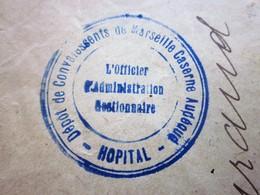 1916-WWI GUERRE 14/18 DÉPÔT CONVALESCENTS HÔPITAL MARSEILLE Marcophilie Lettre CAD Tiretés RURAL P/SAINT-PLANTAIRE INDRE - Marcophilie (Lettres)