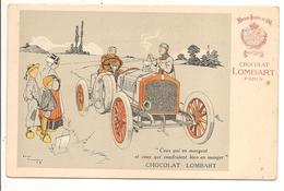 Illustrateur René Vincent Chocolat Lombart Publicité - Automobile Train - Publicité