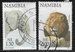 Namibia Scott # 866-7 Used Elephant, Lion,1997 - Namibia (1990- ...)
