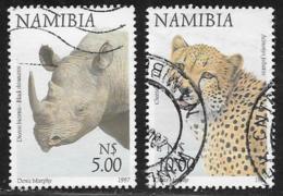 Namibia Scott # 869-70 Used Rhino, Cheetah,1997 - Namibia (1990- ...)