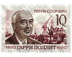 Ref. 57626 * MNH * - SOVIET UNION. 1970. 80th ANNIVERSARY OF THE BIRTH OF HARRY POLLIT . 80 ANIVERSARIO DEL NACIMIENTO D - Eisenbahnen