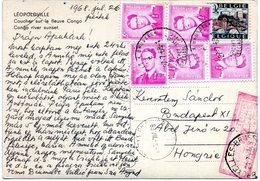 N° 1067 (5 Ex.) +1352 Sur CV Par Exprès De Bruxelles Vers Budapest (Hongrie) - Tarif Exact - 1953-1972 Glasses